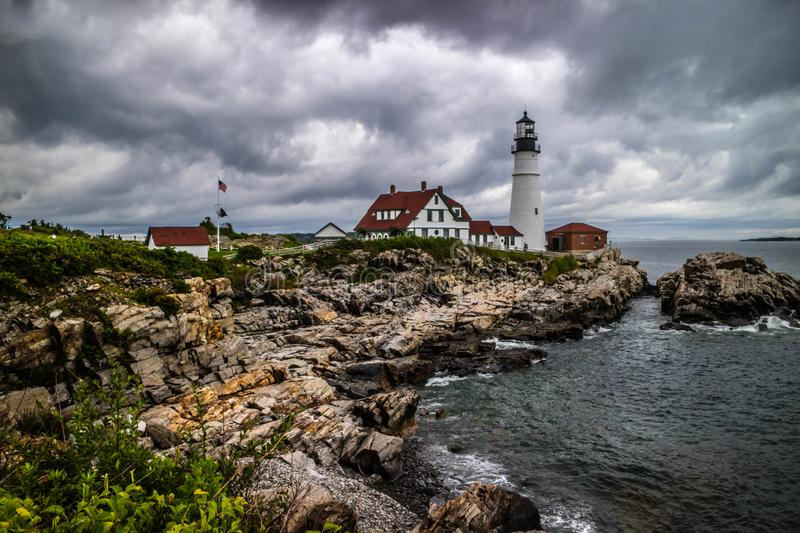 The Portland Head Lighthouse in Cape Elizabeth, Maine. The most iconic lighthouse in southern Maine of Cape Elizabeth stock image