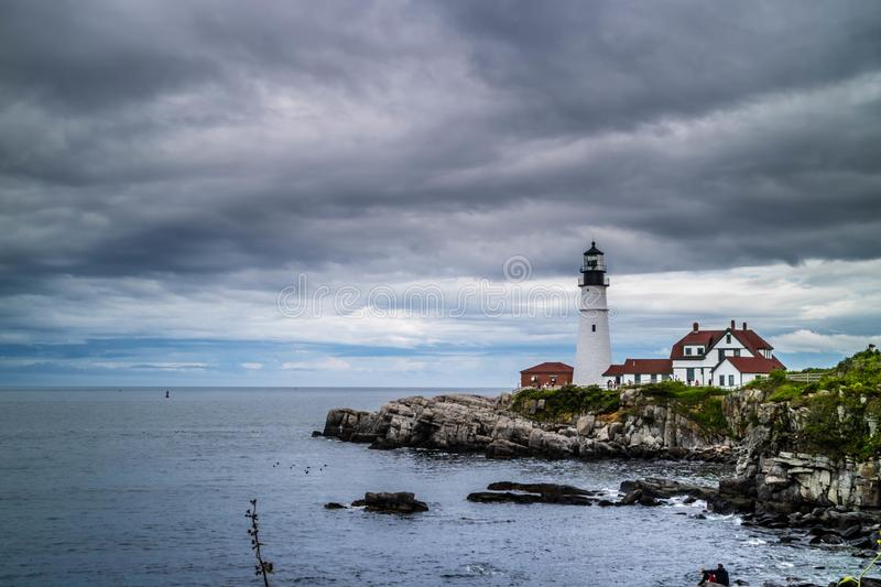 The Portland Head Lighthouse in Cape Elizabeth, Maine. The most iconic lighthouse in southern Maine of Cape Elizabeth royalty free stock image