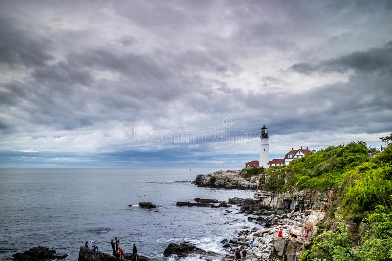 The Portland Head Lighthouse in Cape Elizabeth, Maine. The most iconic lighthouse in southern Maine of Cape Elizabeth stock photography