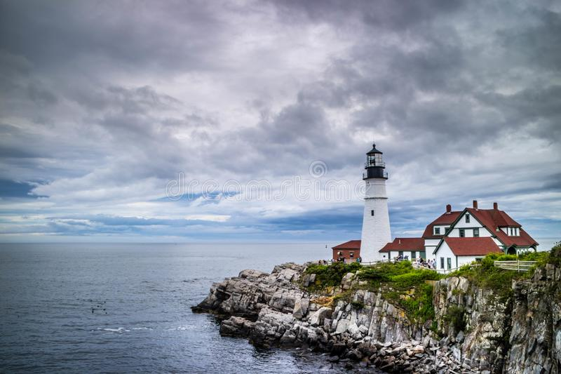 The Portland Head Lighthouse in Cape Elizabeth, Maine. The most iconic lighthouse in southern Maine of Cape Elizabeth stock images