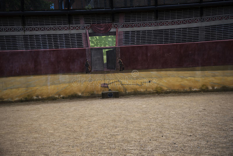 The most important Roman feature is the amphitheatre just outside the walls which is undergoing archaeological investigation stock photography