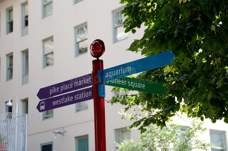 Most important Seattle street signs. Pole with most important Seattle street signs stock image