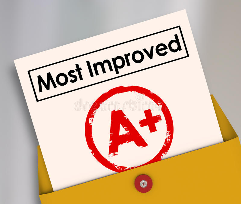 Most Improved Report Card Grade Score Increase Better Results. Most Improved words on a report card with grade or score A+ to illustrate a student or employee stock illustration