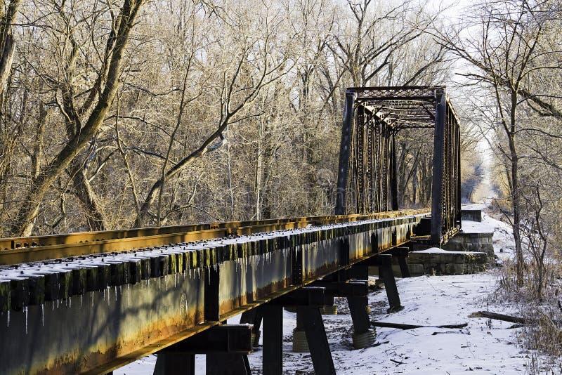 most marznąca linii kolejowej kobyłka obraz stock