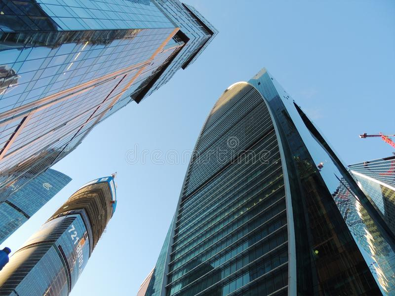 Skyscrapers of business center in moscow stock photos