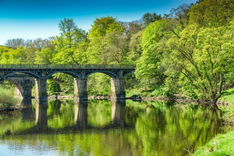 Most na rzecznym Lune blisko Lancaster zdjęcie stock