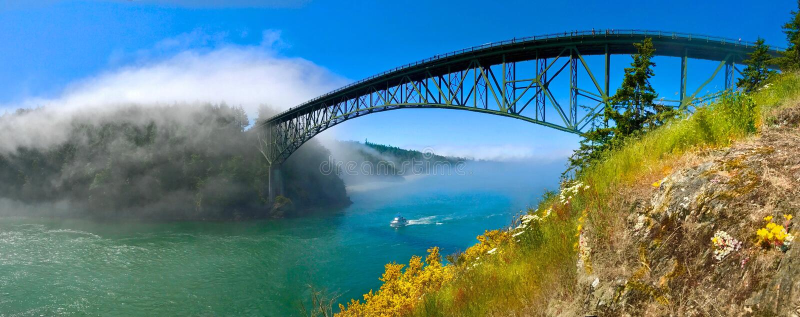 Most nad ocean cieśnina obraz stock