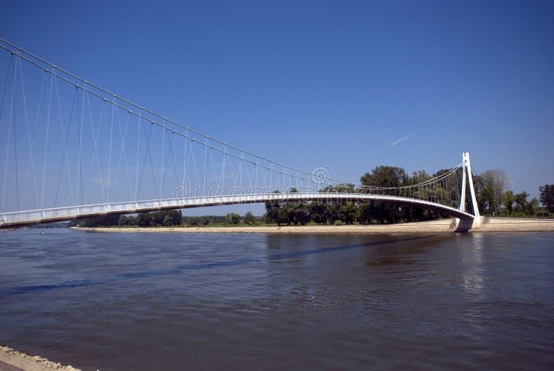 Most nad Rzecznym Drava, Osijek, Chorwacja zdjęcie stock
