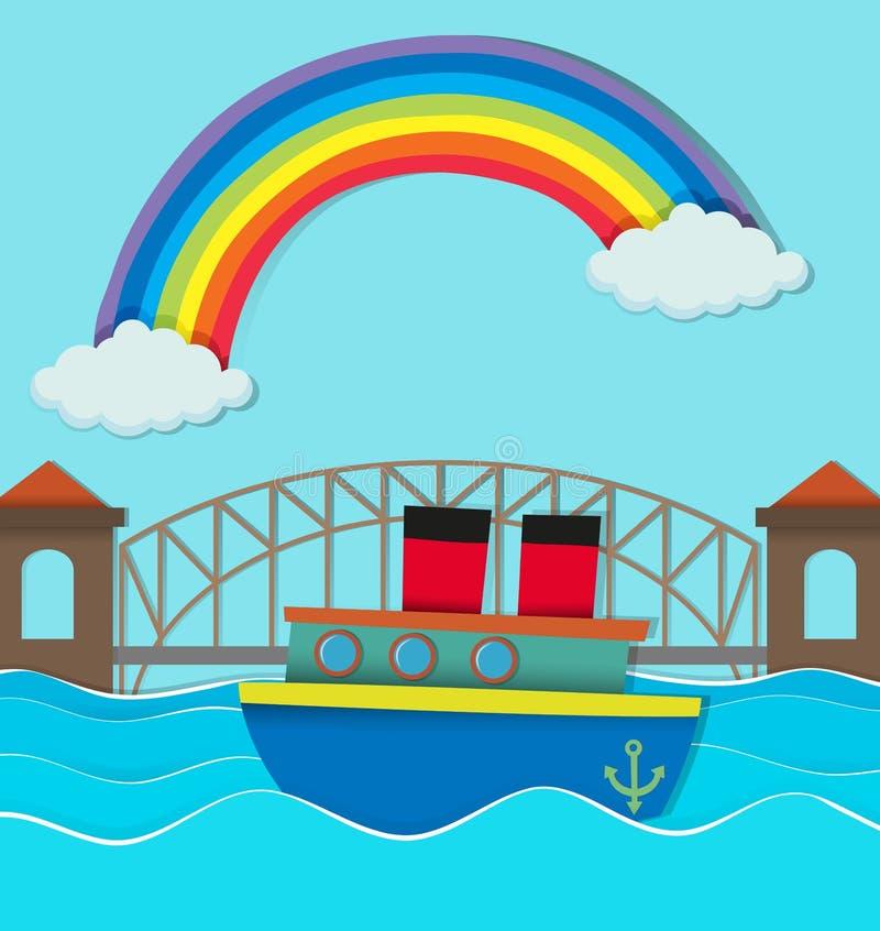 Most nad rzeką i łódź na wodzie royalty ilustracja
