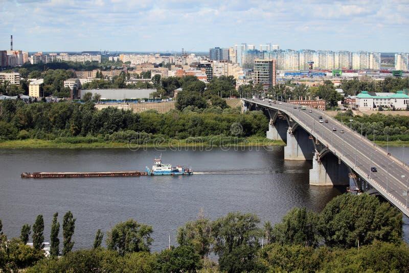 Most nad Volga rzeką w Nizhny Novgorod zdjęcia stock
