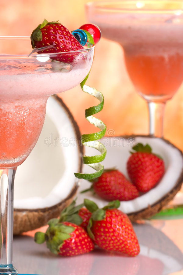 Most popular cocktails series - Strawberry Colada royalty free stock photos