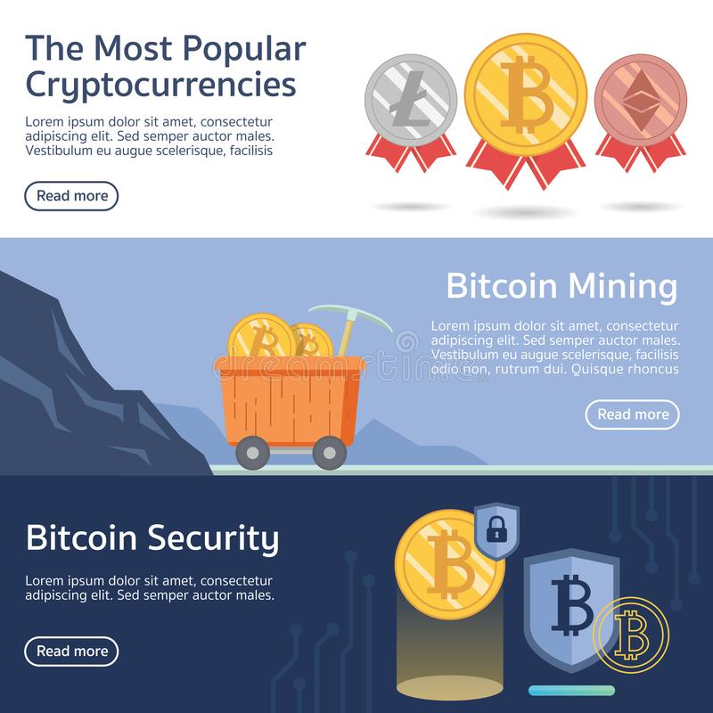 The most popular cryptocurrency banner vector vector illustration