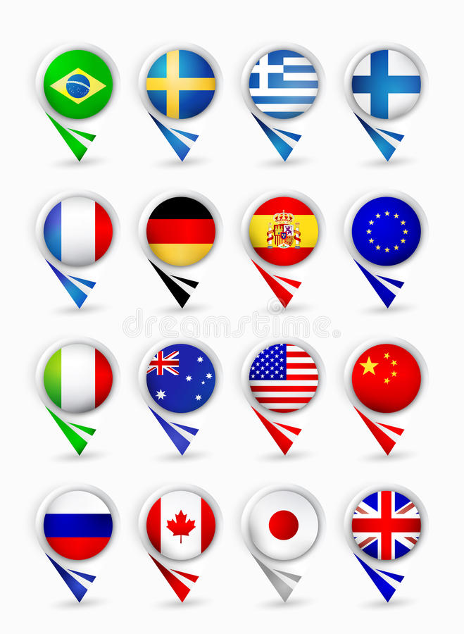Most popular flags map pointers.Part 1. Bubble map pin pointers with flags. Most popular flags part 1 vector illustration