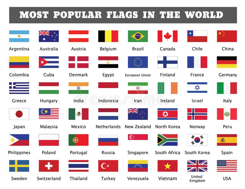 Most popular flags in the world stock illustration