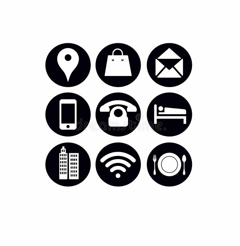 Most Popular Internet Icons Buttons Black. Location shopping mailing mobile phone hotel office wiFi restaurant vector illustration
