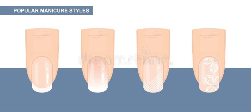 Most Popular Nail Designs. Manicure styles. Vector. Illustration stock illustration