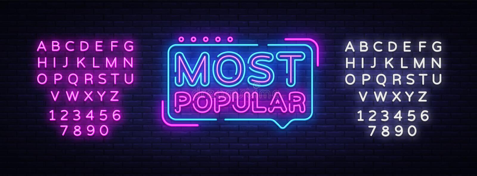 Most Popular neon sign vector. Most Popular Design template neon sign, light banner, neon signboard, nightly bright stock illustration