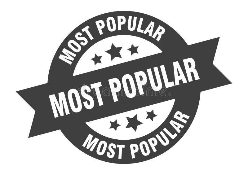 Most popular sign. Most popular round ribbon sticker stock illustration