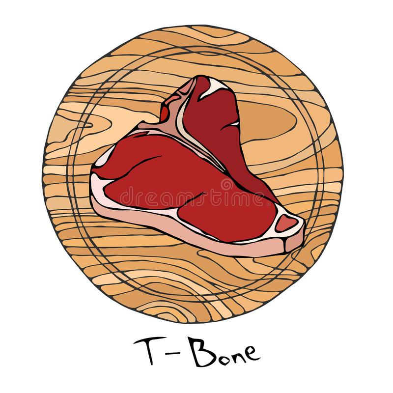 Most Popular Steak T-Bone on a Round Wooden Cutting Board. Beef Cut. Meat Guide for Butcher Shop or Steak House Restaurant Menu. H royalty free illustration