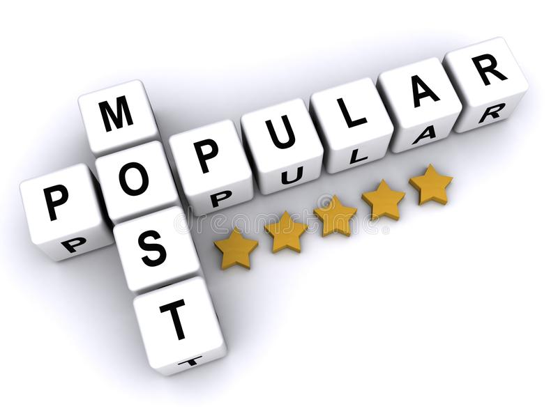 Most popular. Text 'most popular' inscribed on small white cubes in uppercase black letters and arranged crossword style with common letter 'o', white background vector illustration