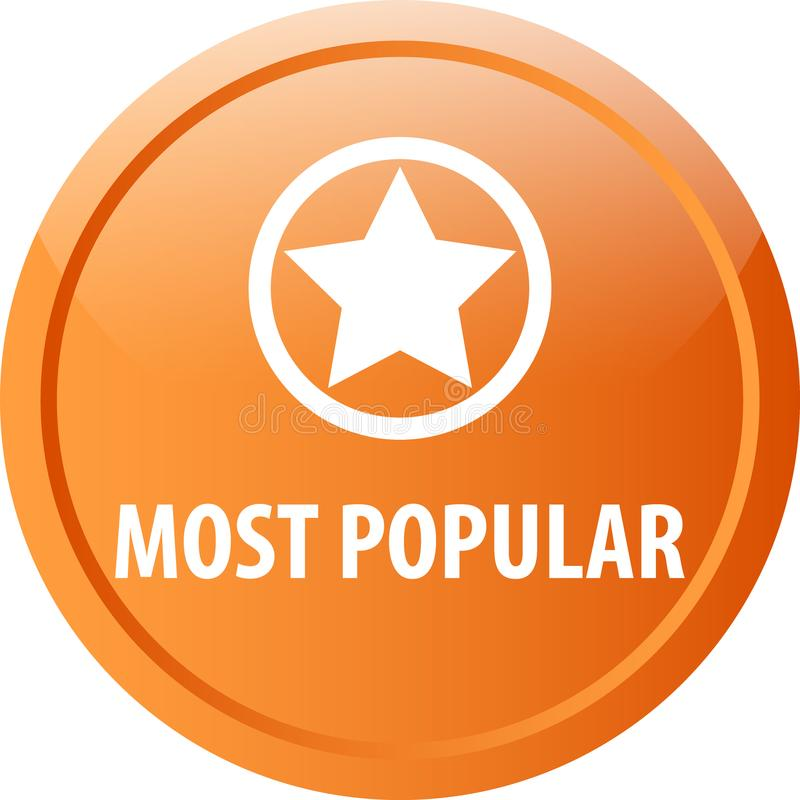 Most popular web button. Most popular colorful web icon button of vector illustration on isolated white background royalty free illustration