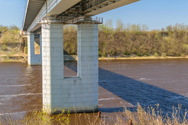 Most przez Volkhov rzekę fotografia stock