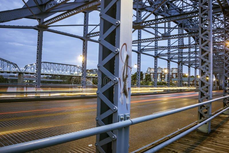 Most przy nocą w Chattanooga zdjęcie stock