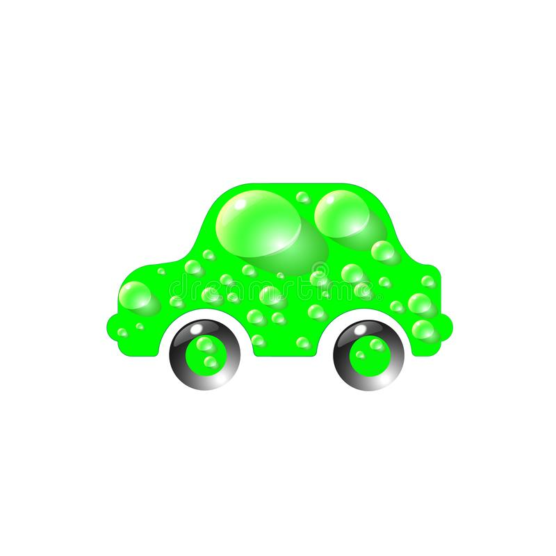 The most top-End toy car green color in drops of water. Car wash design vector abstract modern illustration.  stock illustration