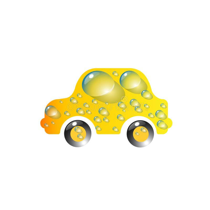 The most top-End toy car yellow color in drops of water. Car wash design vector abstract modern amber, succinic, illustration.  royalty free illustration