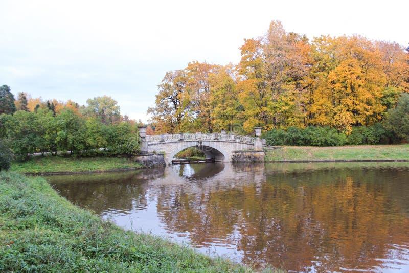 Most w Pavlovsk parku przy jesienią obraz stock