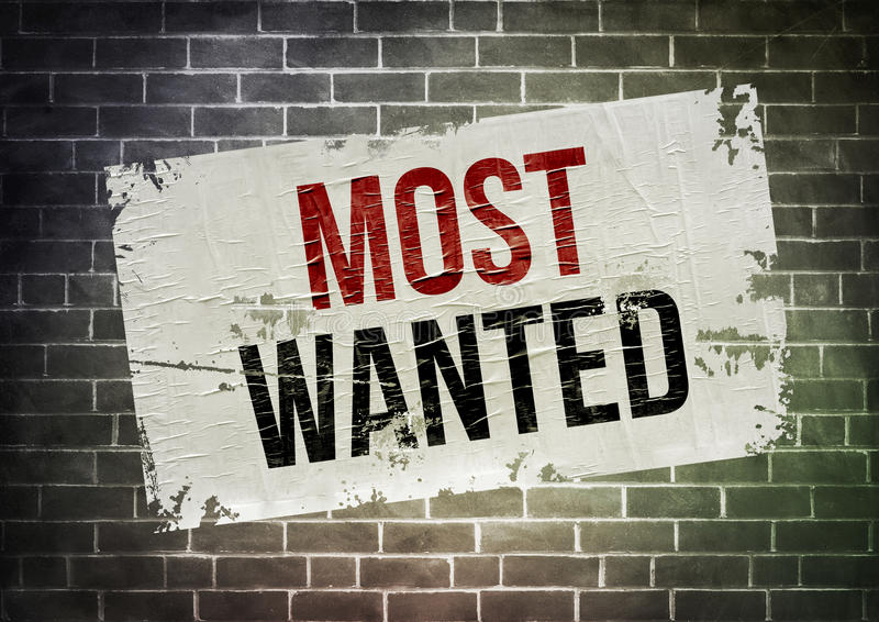 Most Wanted. Dirty poster on wall concept vector illustration