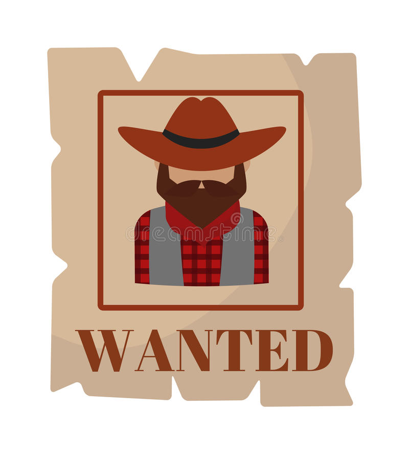 Most wanted man in hat poster concept grunge vector illustration. vector illustration