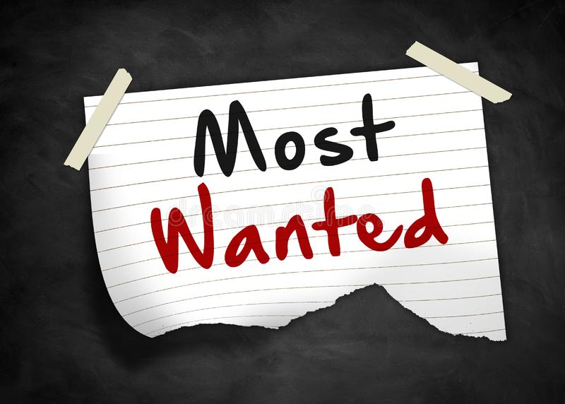 Most wanted. Note message concept stock illustration