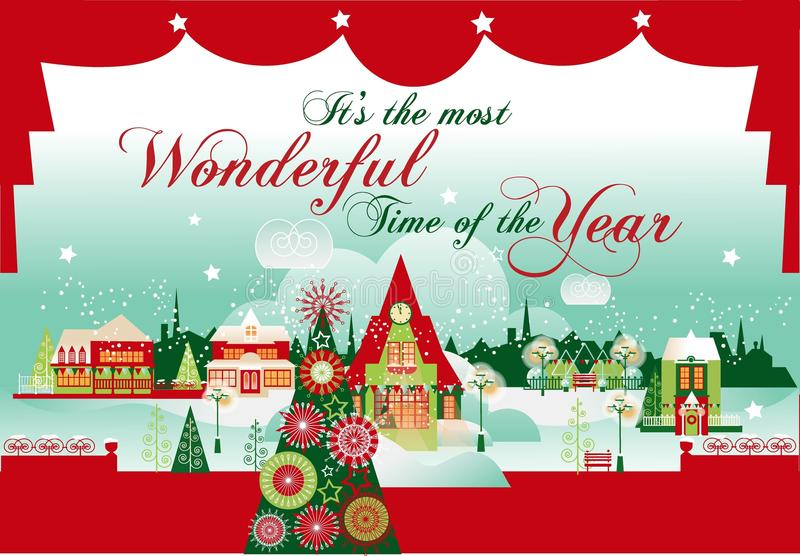 The Most Wonderful Time. Christmas Card. stock photography