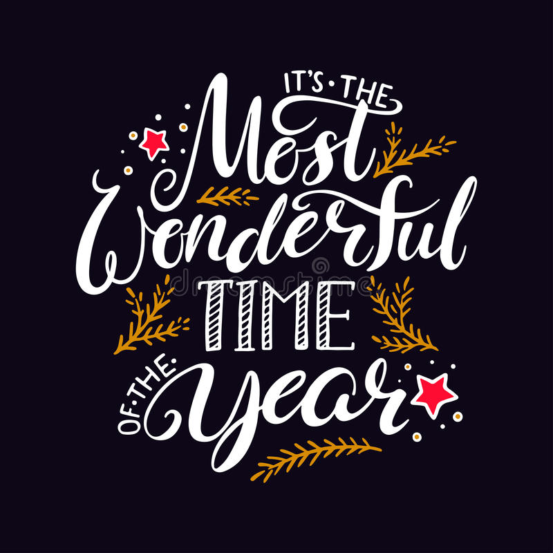 The most wonderful time of the year. Hand written christmas lettering on black background stock illustration