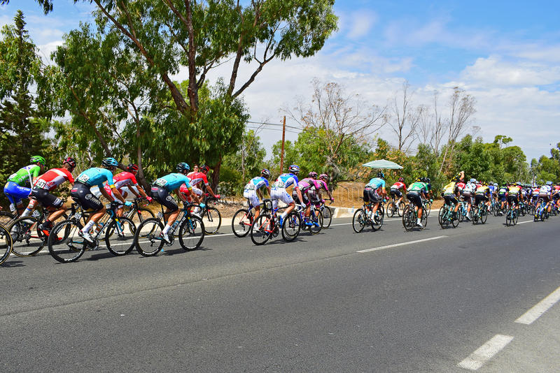 Cycle Racing Peleton La Vuelta España. Most of the Worlds top teams teams can be seen in the peleton on stage 9 of La Vuelta Espana 2017 stock photos