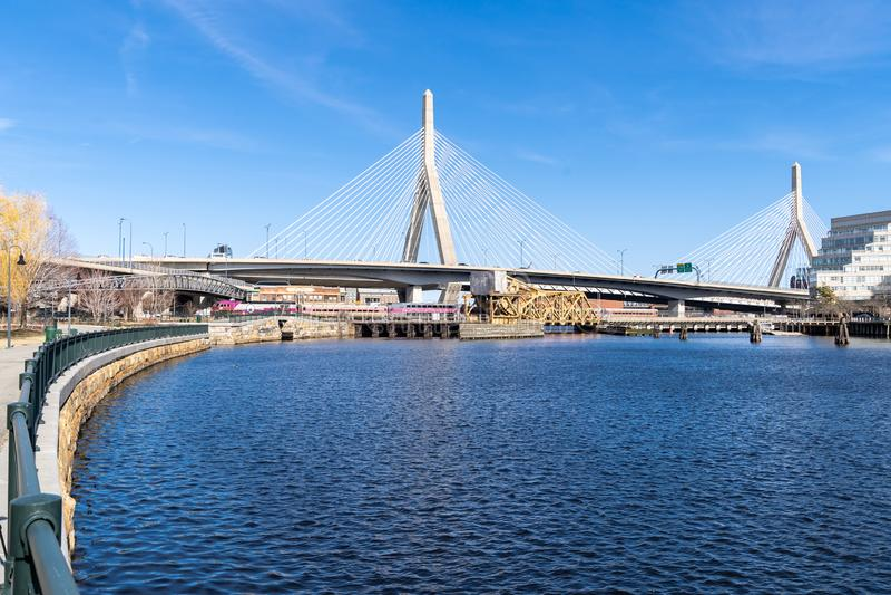 Most Zakim w Bostonie obrazy royalty free