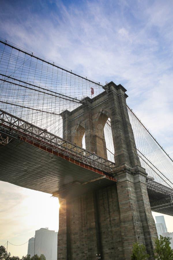 Mosta Brooklyńskiego zbliżenie przy zmierzchem obrazy royalty free