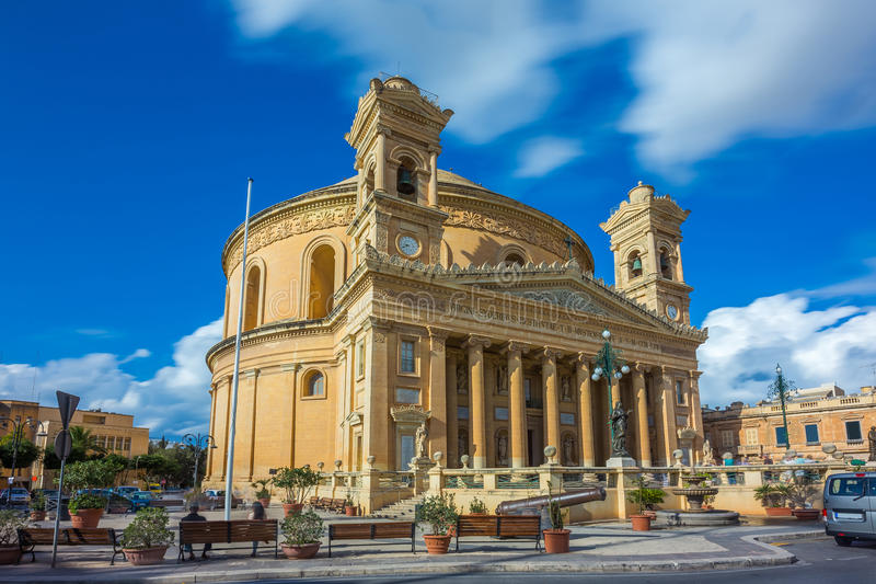 Mosta, Malta - The Mosta Dome at daylight. Mosta, Malta - The Church of the Assumption of Our Lady, commonly known as the Rotunda of Mosta or Mosta Dome at stock photography