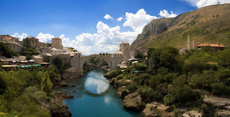 Mostar, Bosnia. Photo of the old turkish bridge in Mostar connecting the Muslim (bosnian) side to the catholics (croats royalty free stock images