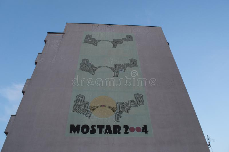 Mostar, Stari Most, Old Bridge, poster, graffiti, mural, Bosnia and Herzegovina, Europe, street art, skyline, Bosnian War royalty free stock image