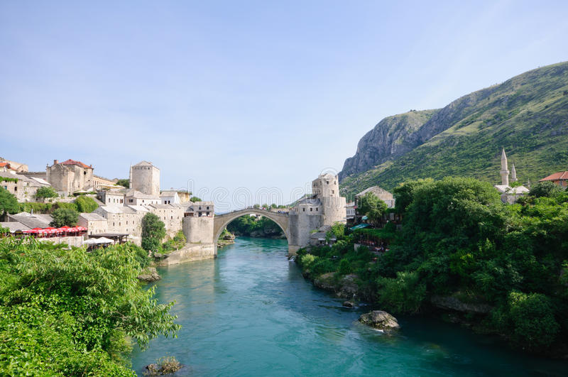 Mostar, Bosnia and Herzegovina. Stari Most in Mostar, Bosnia and Herzegovina, The World Heritage Site Old Bridge Area of the Old City of Mostar stock photos