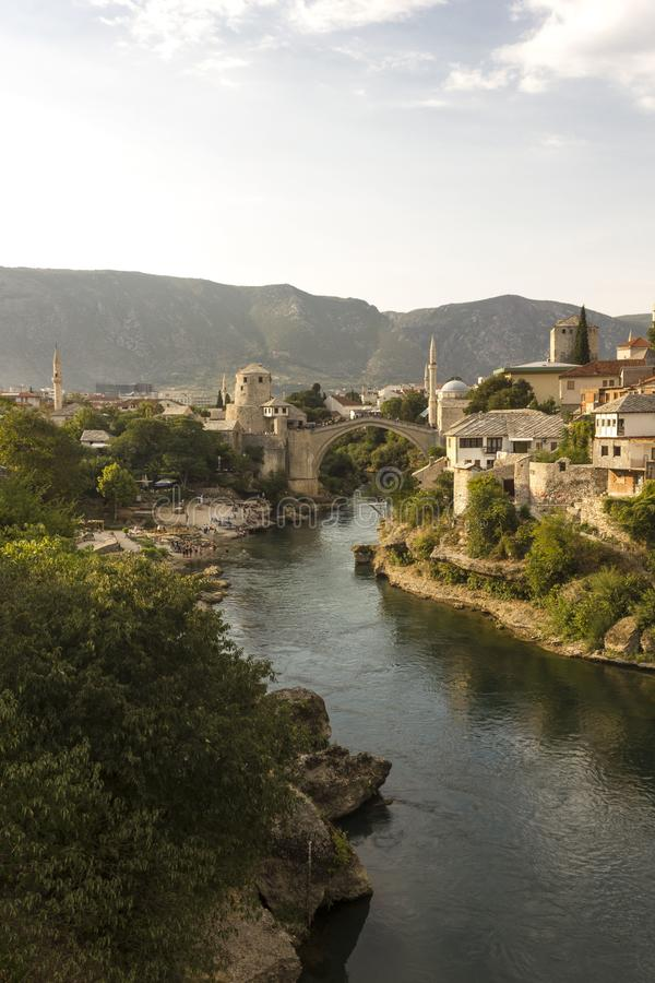 Overview of the city of Mostar and its famous bridge stock photography