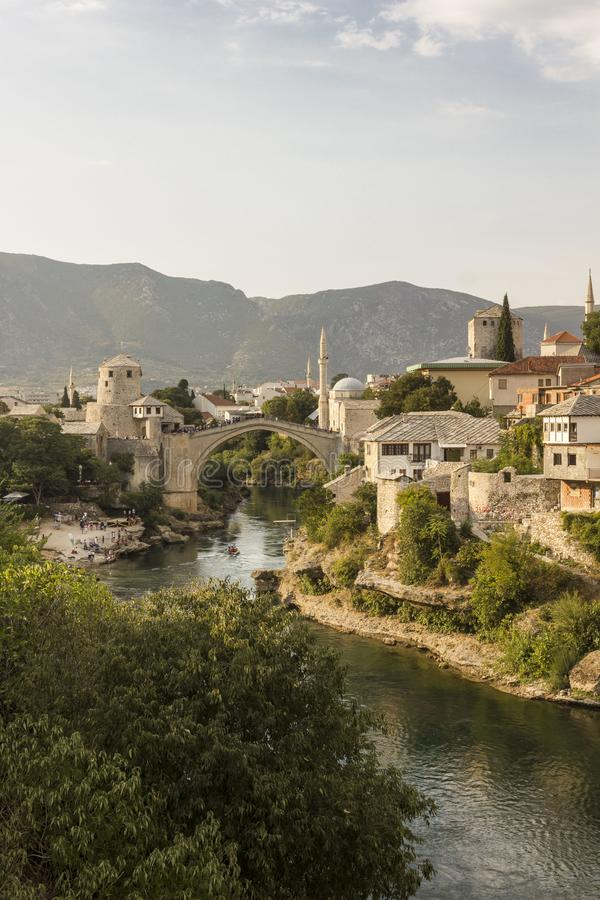 Overview of the city of Mostar and its famous bridge stock images