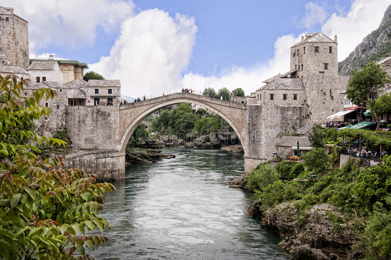 Mostar in Bosnia and Herzegovina is the most important city in the Herzegovina region. royalty free stock photos