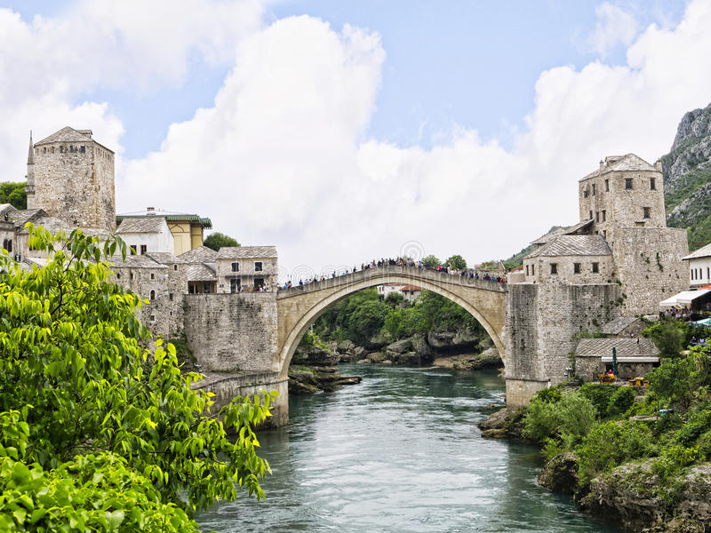 Mostar in Bosnia and Herzegovina is the most important city in the Herzegovina region. stock image