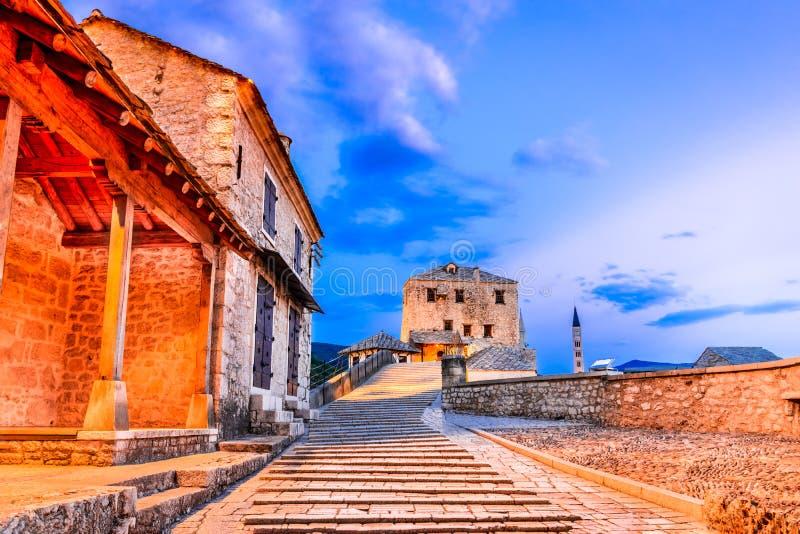 Mostar, Stari Most bridge in Bosnia and Herzegovina royalty free stock photo