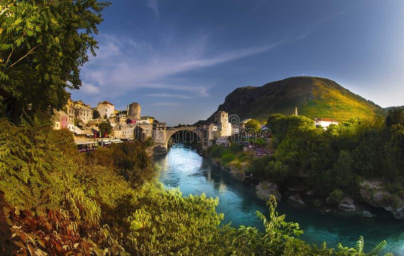 Mostar, Stari Most bridge in Bosnia and Herzegovina. Empire, ages. royalty free stock photo