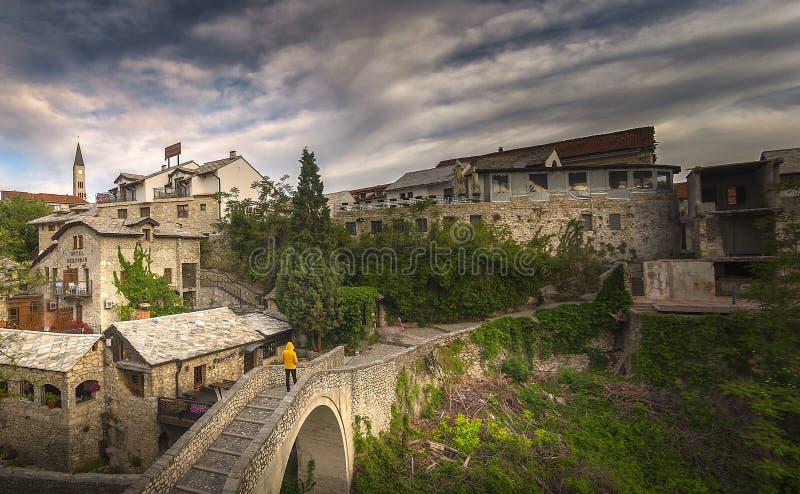 Mostar, Stari Most bridge in Bosnia and Herzegovina. Empire, ages. stock image