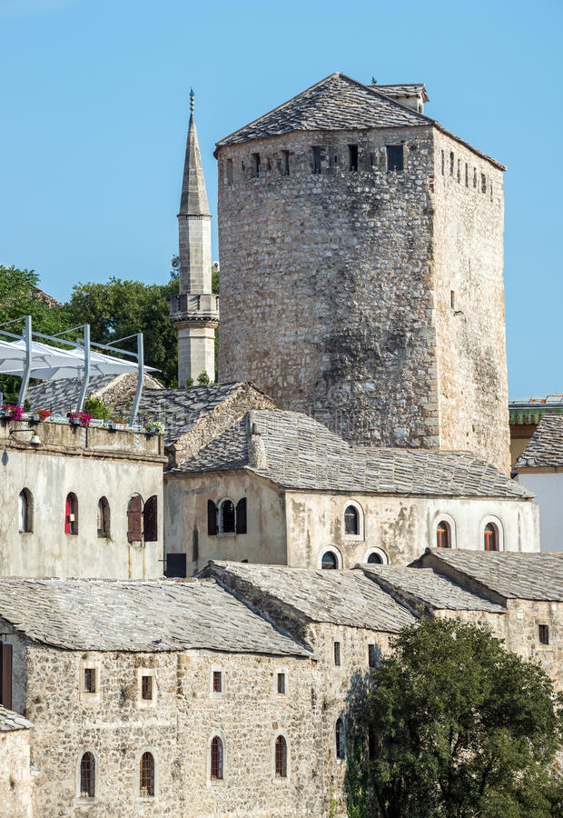 Mostar in Bosnia. Old Town in Mostar city with Tara Tower, Bosnia and Herzegovina stock photos